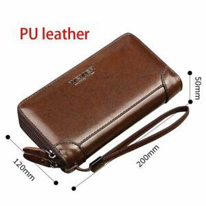 Long-Wallet-Double-Zipper-Leather-Men-Purse-Black-Brown-Clutch-Card-Photo-Holder