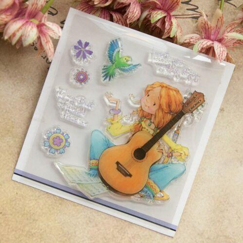 M?dchen spielen Gitarre Silikon Stempel haften DIY Tagebuch Scrapbooking GE