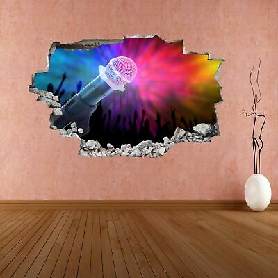 Microphone Concert Fans Stage Lights Silhouette 3D Wall Sticker Mural Decal CP36