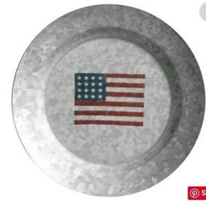 Pottery Barn New Galvanized American Flag 9 Quot Salad Plates