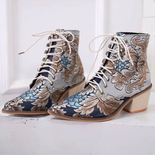 Women Pointed Toe Embroideried Lace Up Block