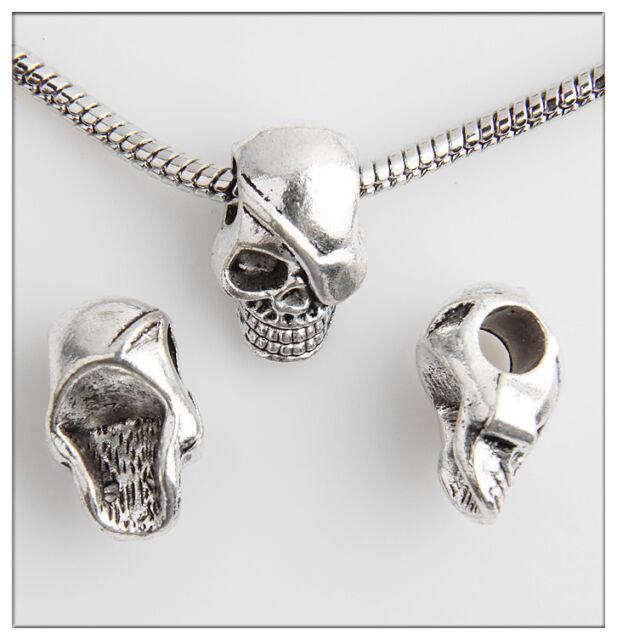 10pcs Skull Tibetan Silver Bead Fit European Charm Bracelet Findings