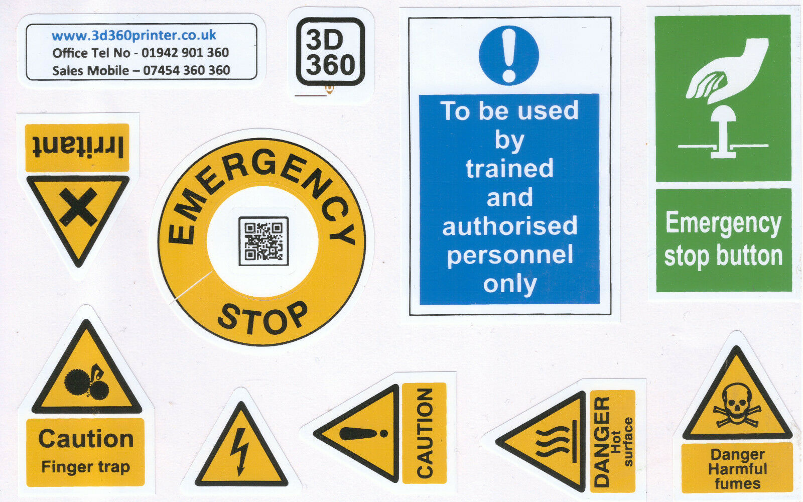 3D Printer Printing EN 7010 Hazard Warning Signs Safety Risk Reduction Stickers