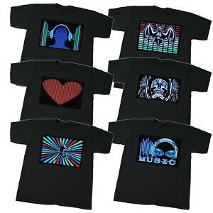 T-shirt-mit-EL-Panel-Leuchtfolie-LEDfolie-Groesse-S-M-L-XL-XXL-XXXL-schwarz-HIT