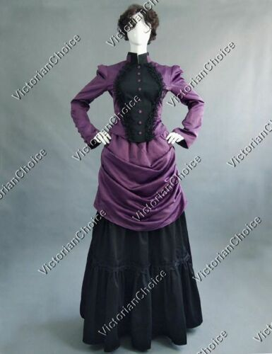 Victorian Costumes: Dresses, Saloon Girls, Southern Belle, Witch    Victorian Titanic Bustle Dress Gown Theater Reenactment Women Clothing 139 $129.00 AT vintagedancer.com