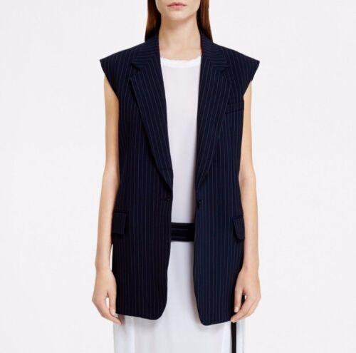 col en laine rayures en stretch à zippé Women Nwt Bleu marine Vest Dkny laine avec fines S41qP