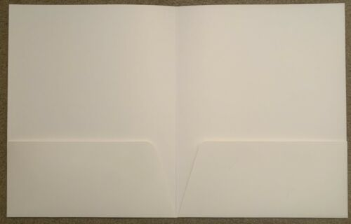 "9.25/"" X 12/"" 25-Pack NEW 2-Pocket Glossy Laminated White Presentation Folders"