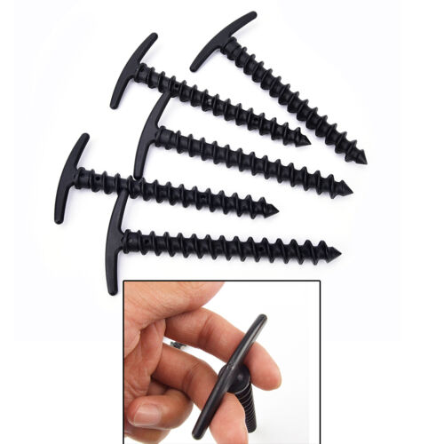 5x Plastic Screw Spiral Tent Peg Stakes Nail Outdoor Camping Awning Trip Kit UK`