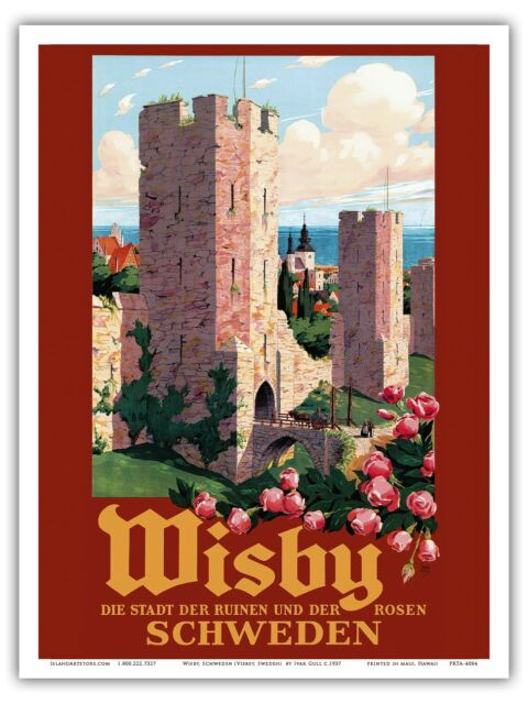 ART PRINT POSTER TRAVEL TOURISM VISBY SWEDEN RUIN ROSES CITY WALL NOFL1267