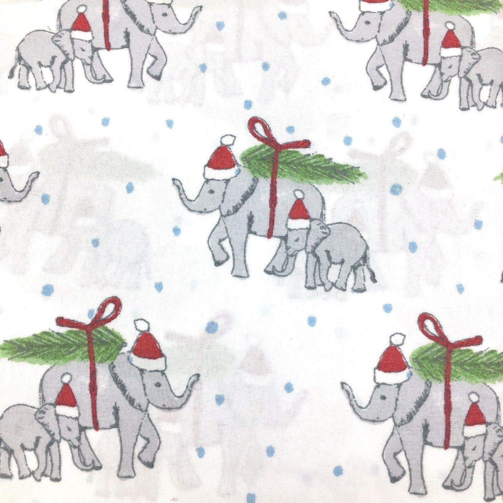 4pc Cynthia Rowley QUEEN Sheet Pillowcase Set Christmas Tree Elephant Santa Hat