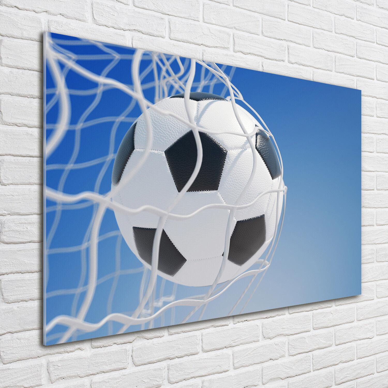 Glas-Bild Wandbilder Druck auf Glas 100x70 Deko Sport Ball im Tor
