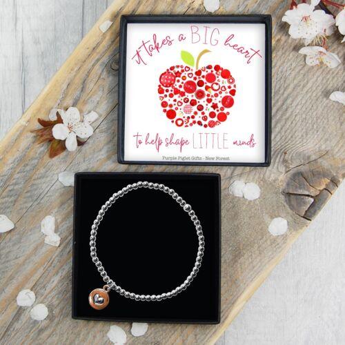 Silver Plated Beaded Bracelet Thank You Teacher Present Under £10 Gift Box