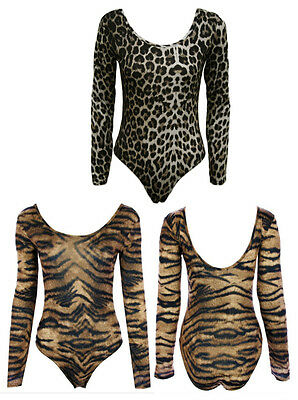B79-TIGER / ANIMAL PRINT LONG SLEEVE LEOTARD BODYSUIT DANCE TOP-SIZE 8-26-NEW