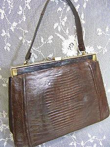 Image Is Loading Handmade Brown Tejus Lizard Leather Handbag Purse Kelly