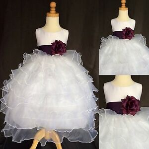 36cd22b0e778 White Organza Ruffle Plum Flower Girl Dress Wedding Vintage Fall ...
