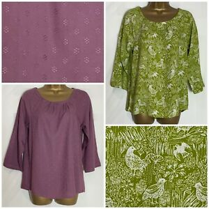 White-Stuff-Green-Bird-Print-Or-Mauve-3-4-Sleeve-Top-Size-8-22-ws-77h