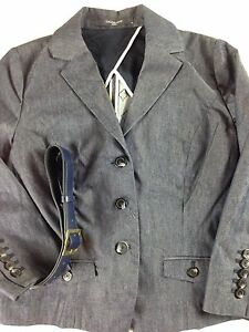 Liz-Claiborne-Denim-Jacket-3-Button-Blue-Blazer-Women-Petite-NEW-4-Leaf-Clover