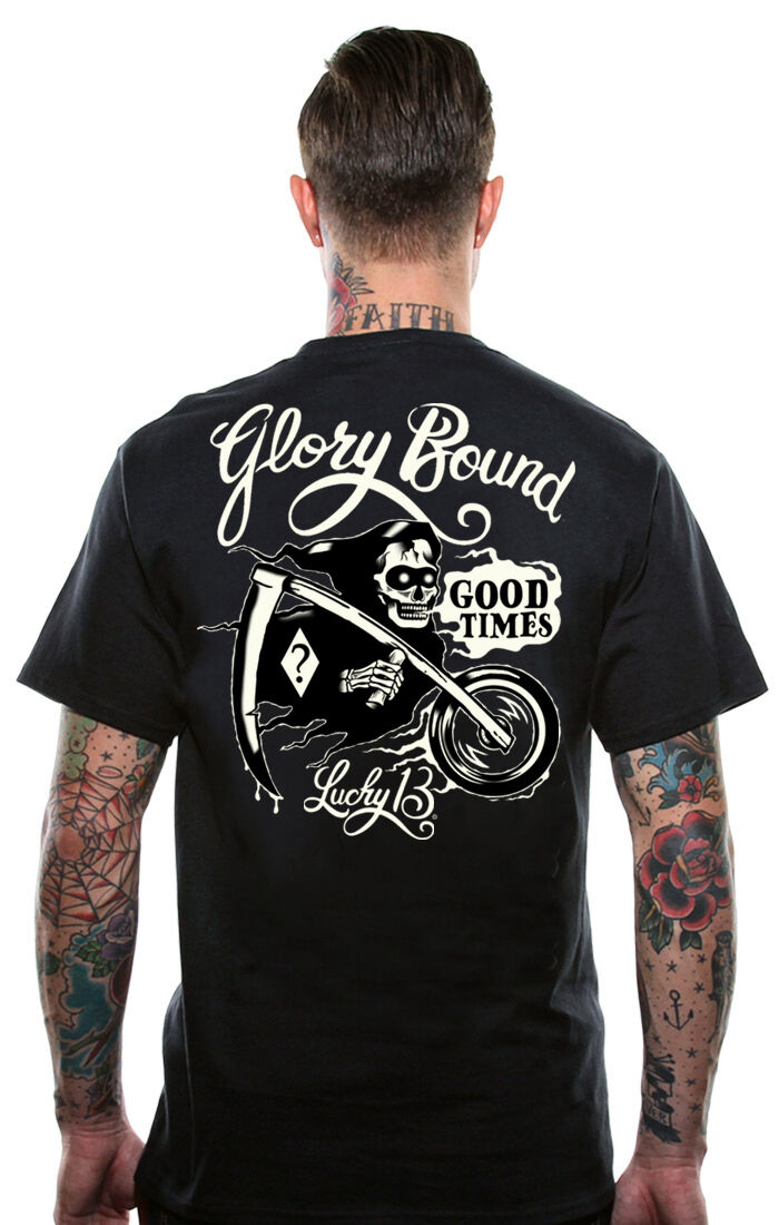Lucky 13 Uomo Camicia Glory Bound Orrendo Mietitore Tattoo Motociclista Arte