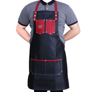Pro-Salon-Leather-Black-Cutting-Barber-Hair-Cutting-Gown-Cape-Hairdresser-Apron
