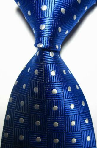 Hot Classic Pattern Dots Blue White JACQUARD WOVEN 100/% Silk Men/'s Tie Necktie