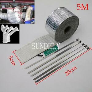 "New 2"" x 5m Silver High Temp Exhaust Magma Heat Wrap & 5 Stainless Steel Ties"