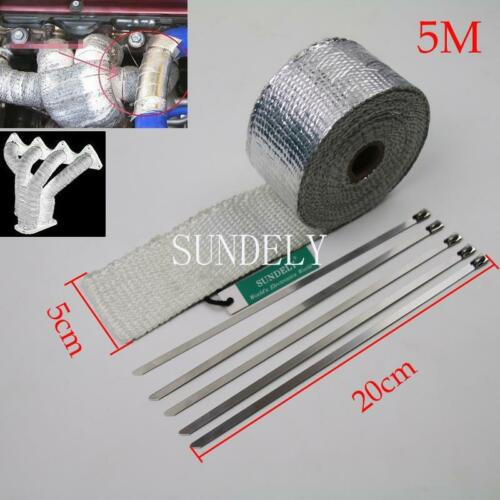 "Silver Exhaust Heat Wrap High Temp Manifold Front Pipe Exhaust Shields 2/"" x 5M"