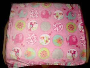 Garanimals Pink Baby Girl Blanket Hibiscus Flower Elephant Bird