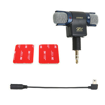 Stereo Mic External Microphone w/ 3.5mm Micro USB Cable Line For Pro Hero4 3+3