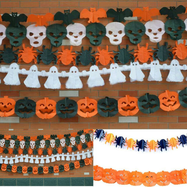Halloween Garland Decoration Pumpkin Skull Spider Paper Wreath Halloween Props