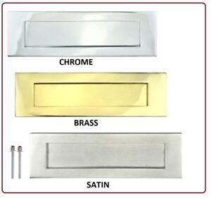 Victorian-LETTER-PLATE-BOX-Door-Letterbox-Sprung-Flap-Chrome-Brass-Nickel-10-x-3