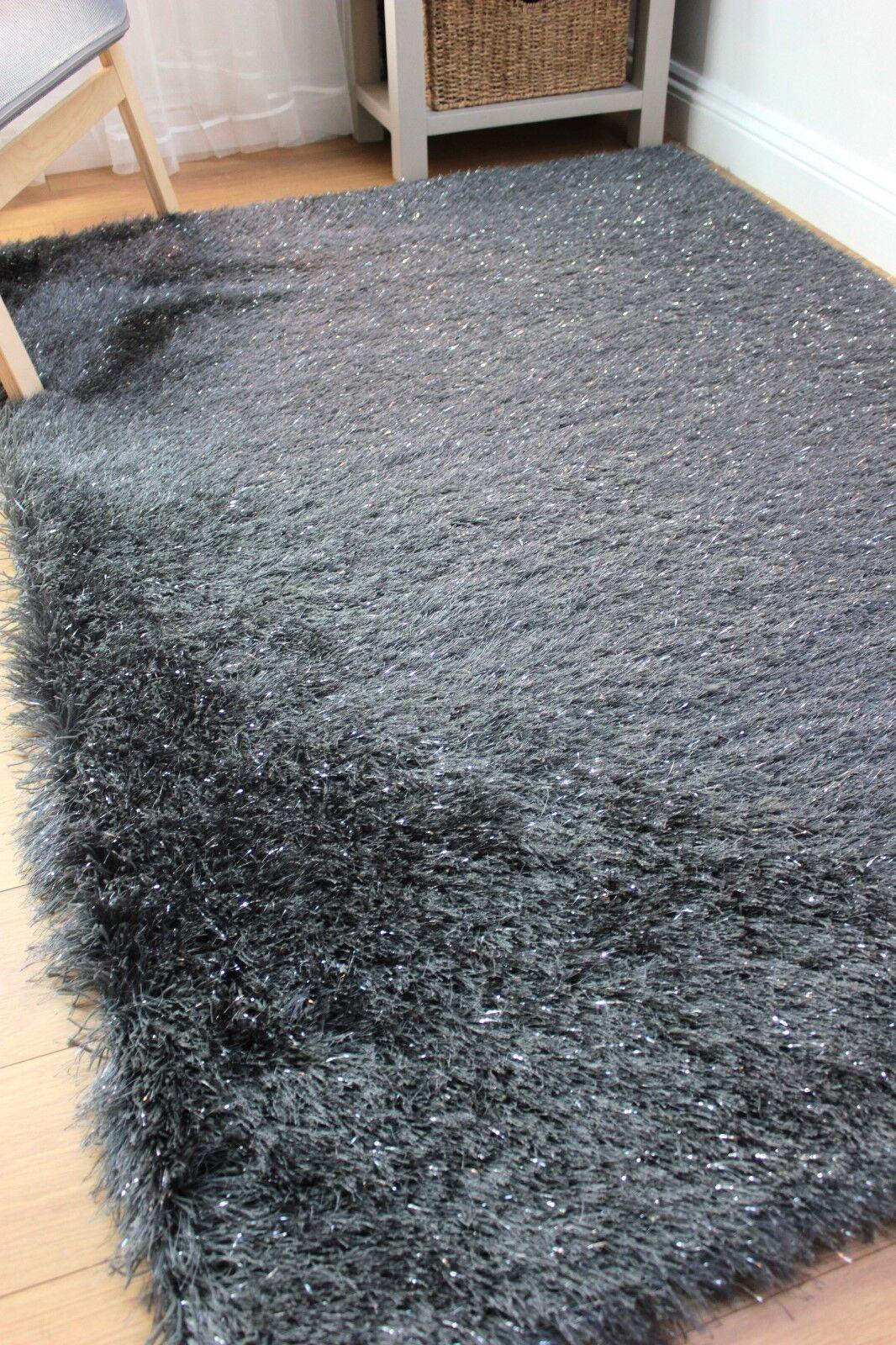 DAZZLE SPARKLE CHARCOAL SILKY SOFT PILE  SHAGGY SHAGGY SHAGGY RUG available in various Größes 7f90c5