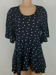 Lucky Brand Dark Blue White Polka Dots Blouse Short Sleeve Women's Size XS