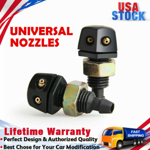 2x Universal Front Windshield Wiper Washer Sprayer Jet Nozzles Various Vehicle