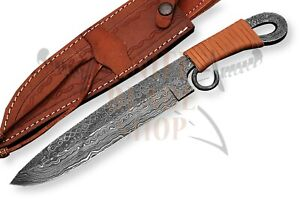 DAMASCUS-STEEL-forged-MEDIEVAL-VIKING-KNIFE-TWISTED-DAMASCUS-HANDLE