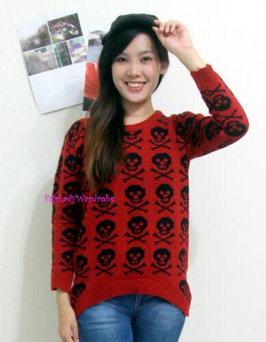 Free US SHipping Japan High Low Skull Head Intarsia Knit Sweater