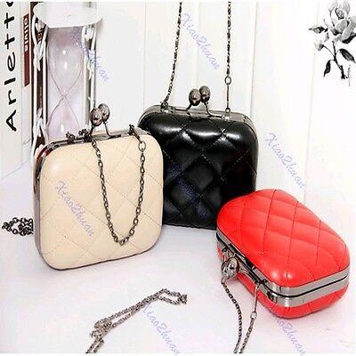 Vintage Chain Grid Pattern Ladies Shoulder Bags Clutch Purse Handbag Evening Bag