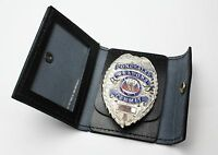 Badge Wallet Black Leather Concealed Carry Id Holder Includes Ccw Badge & Wallet