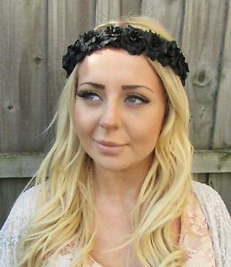 Black Rose Flower Garland Headband Hair Band Crown Festival Pastel ... 5910c5e03ac