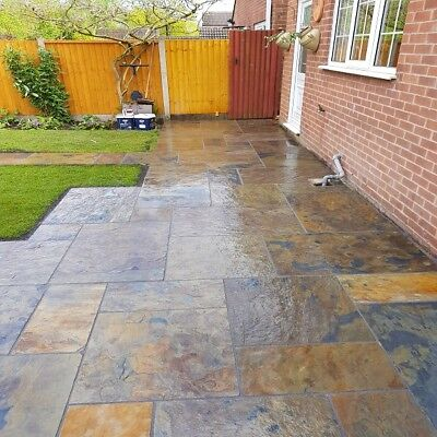Rustic Copper Slate Paving Slabs Flags Patio Path Indian ...