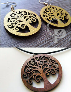 Tree Of Life Wooden Earrings Or Pendant Rosewood Or Gold Painted