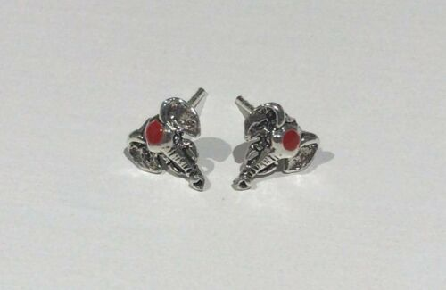 Pendientes de plata esterlina Elefante Rojo