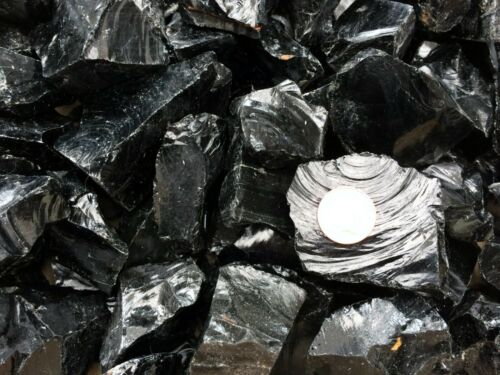 250g x Black Obsidian Raw Natural Crystal Mineral Specimen Home Protection