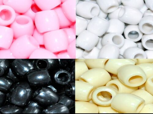 100pcs big crème rose en plastique poney perles 11x11.5mm blanc