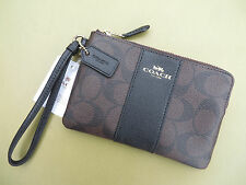 COACH Wristlet Wallet Leather Black NEW Small Purse Bag coin purse 54626 58034