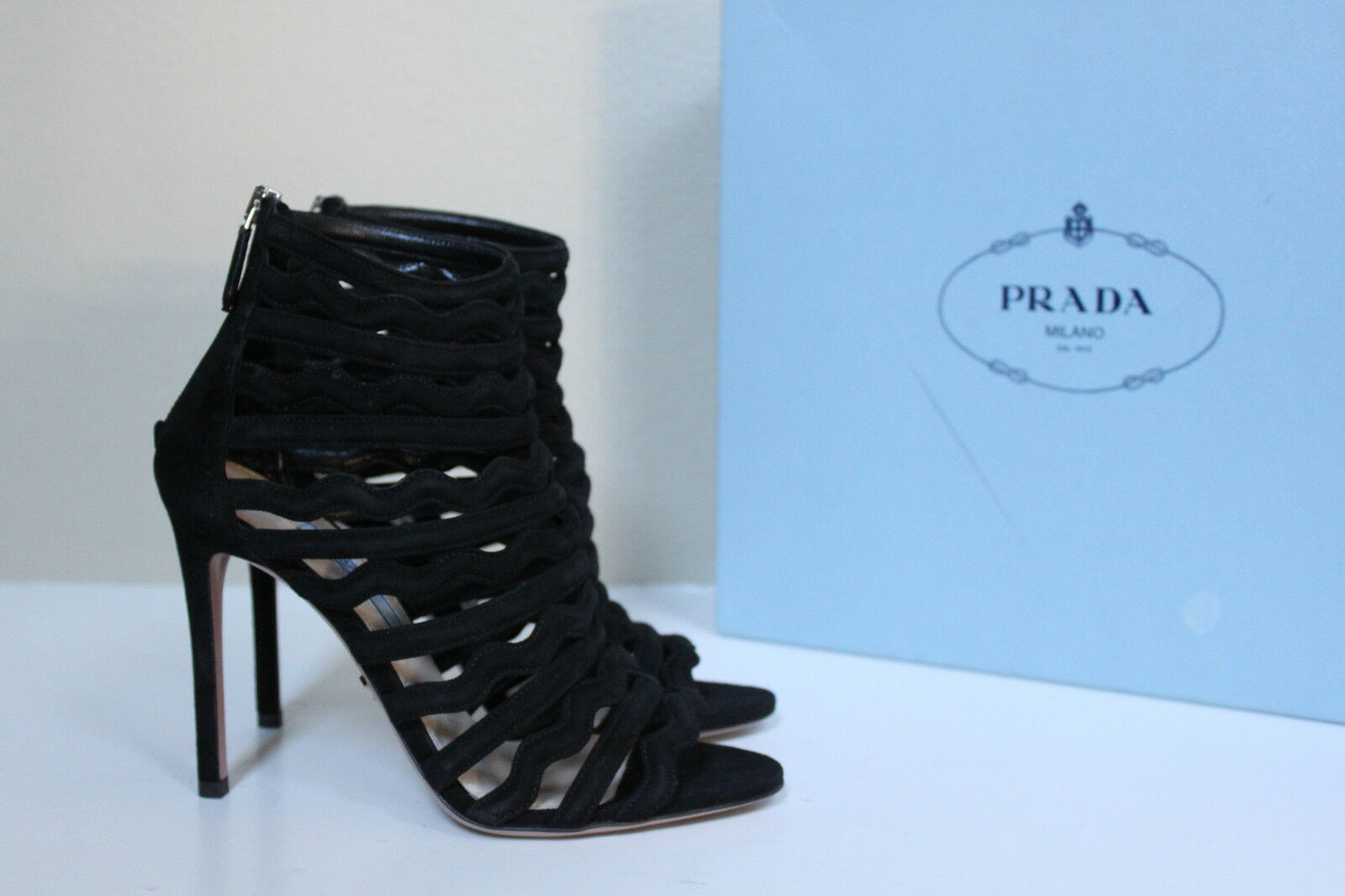 New sz 7.5   37.5 PRADA BLACK Cutout Wavy Suede Ankle Caged Sandals Heel shoes