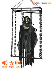 Animated Caged Skeleton Decoration Reaper Animated Light Up Halloween Party Prop