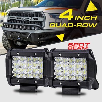 """4/"""" 240W QUAD-ROW SPOT Pods CREE LED Light Bar Offroad For Ford Chevy Ram Jeep 5/"""""""