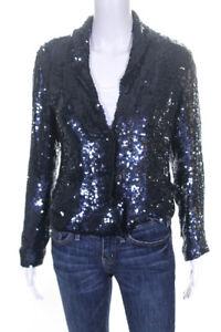 Gryphon-New-York-Womens-Long-Sleeve-V-Neck-Sequin-Blouse-Top-Blue-Size-Medium
