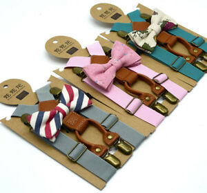 Kids-Baby-amp-Boys-Wedding-Matching-Braces-Suspenders-and-Luxury-Bow-Tie-Sets-Cute