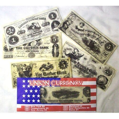NH CIVIL WAR US UNION CURRENCY SET REPO $5.00  NY.PA.NJ.MD /&  $1.00 MAINE